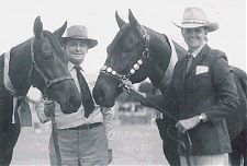 Reg Brown and his daughter Heather at the 1982 Cloncurry Show holding (l-r) NONDA NATIVE WHIMSEY and NATIVE SON